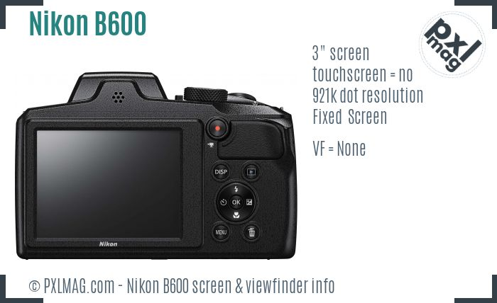 Nikon Coolpix B600 screen and viewfinder