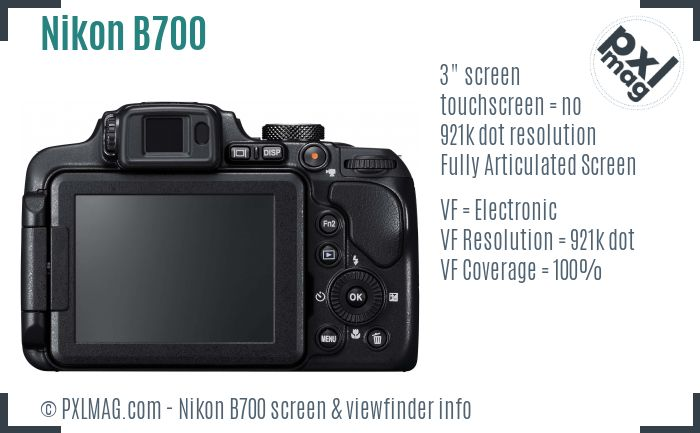 Nikon Coolpix B700 screen and viewfinder