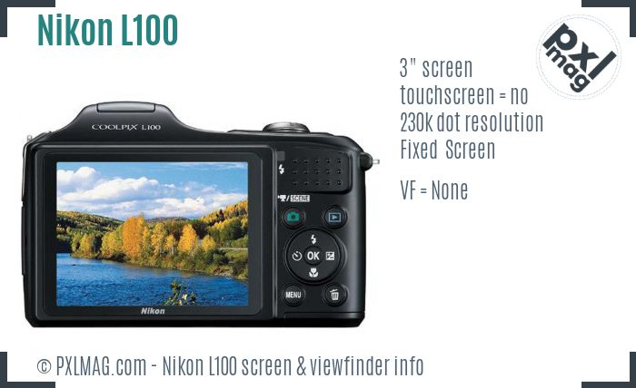 Nikon Coolpix L100 screen and viewfinder