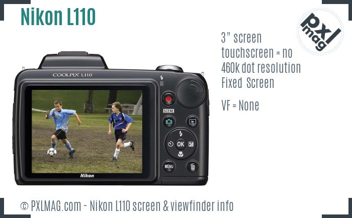 Nikon Coolpix L110 screen and viewfinder
