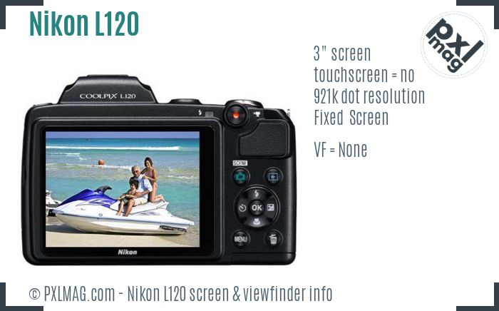 Nikon Coolpix L120 screen and viewfinder