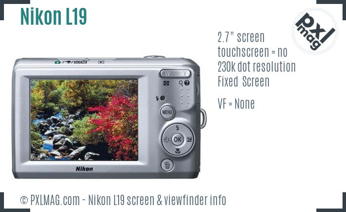 Nikon Coolpix L19 screen and viewfinder