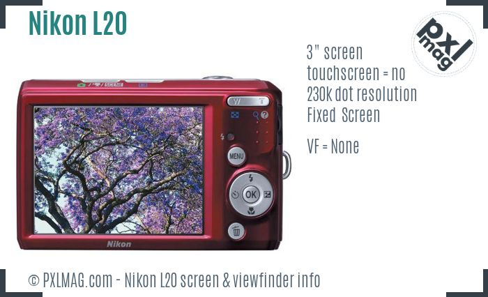 Nikon Coolpix L20 screen and viewfinder