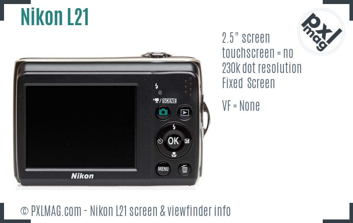 Nikon Coolpix L21 screen and viewfinder