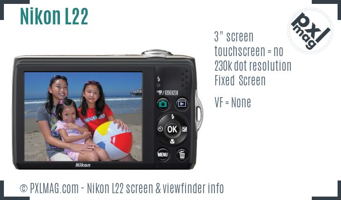 Nikon Coolpix L22 screen and viewfinder
