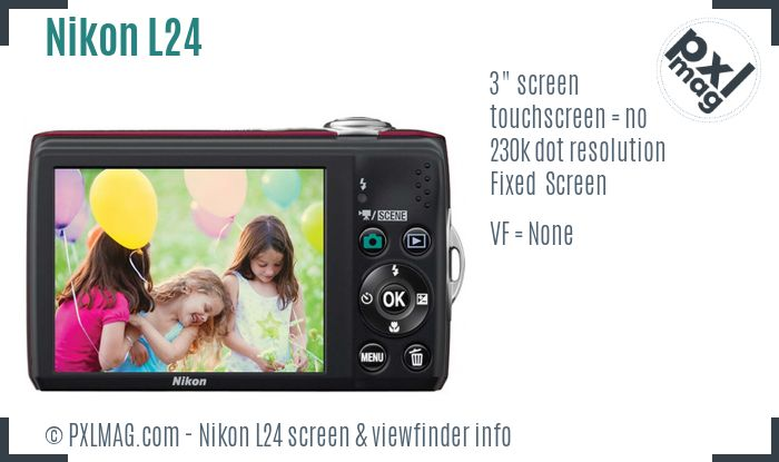 Nikon Coolpix L24 screen and viewfinder