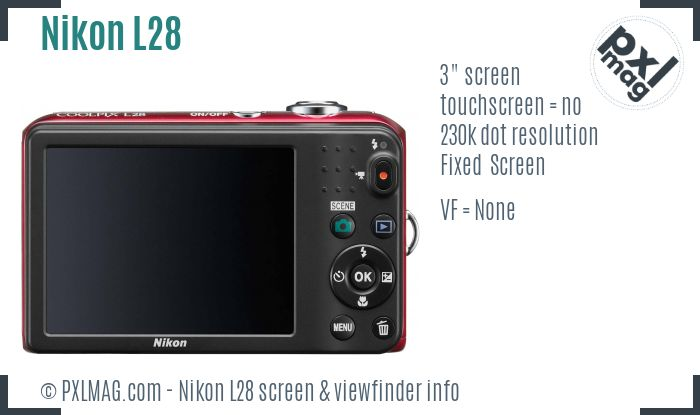 Nikon Coolpix L28 screen and viewfinder