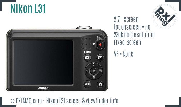 Nikon Coolpix L31 screen and viewfinder