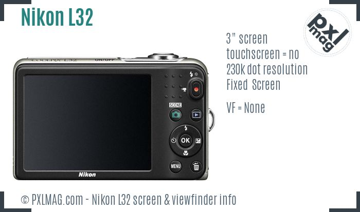 Nikon Coolpix L32 screen and viewfinder