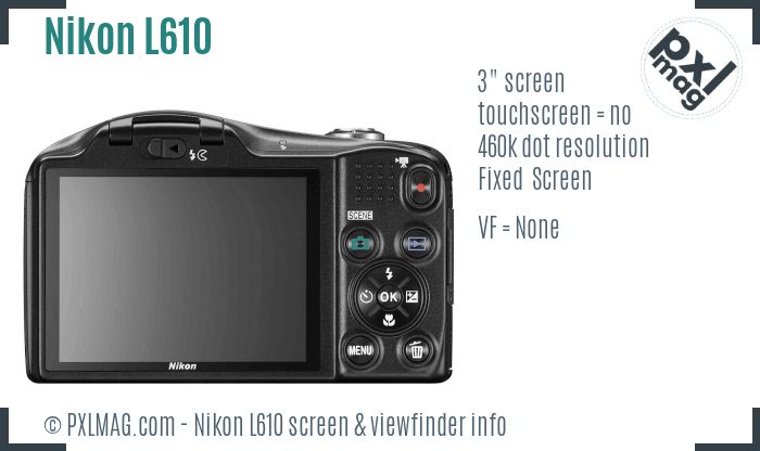 Nikon Coolpix L610 screen and viewfinder