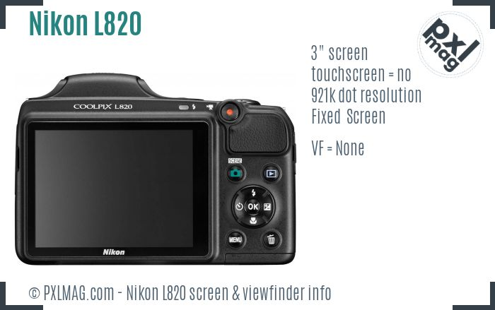 Nikon Coolpix L820 screen and viewfinder