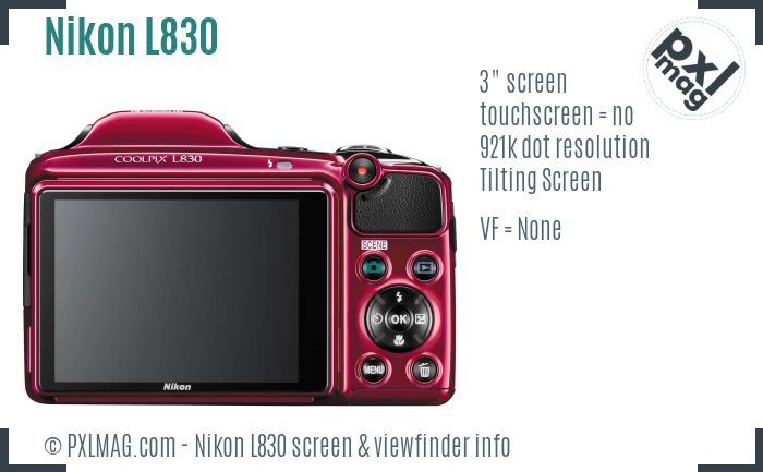 Nikon Coolpix L830 screen and viewfinder