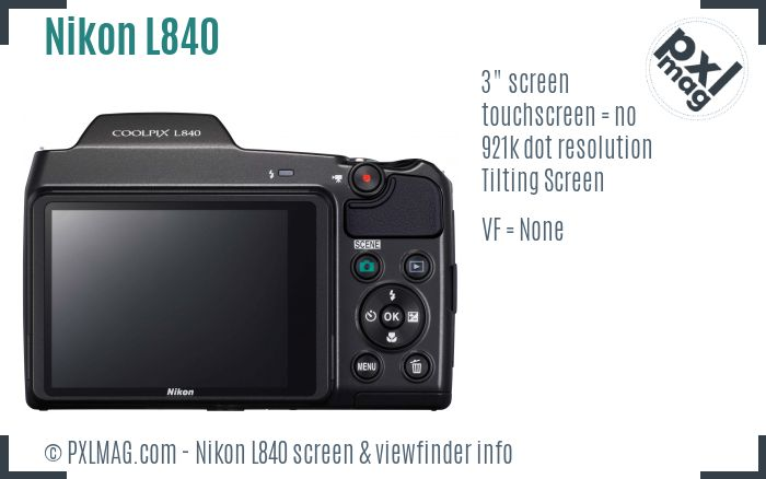 Nikon Coolpix L840 screen and viewfinder
