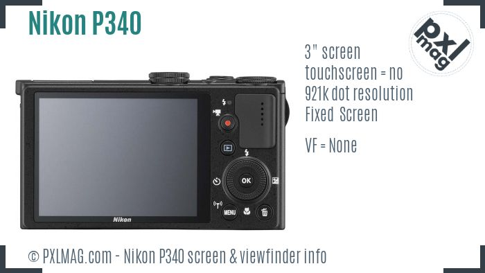 Nikon Coolpix P340 screen and viewfinder