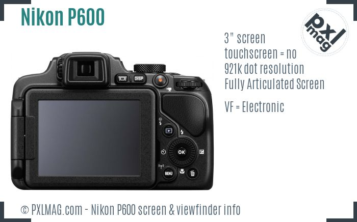 Nikon Coolpix P600 screen and viewfinder
