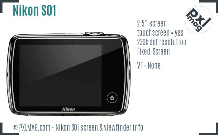 Nikon Coolpix S01 screen and viewfinder