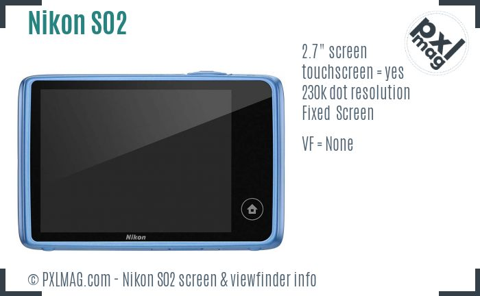 Nikon Coolpix S02 screen and viewfinder