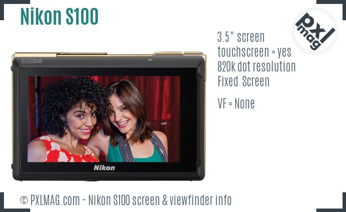 Nikon Coolpix S100 screen and viewfinder