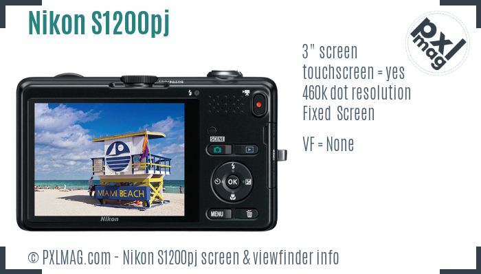 Nikon Coolpix S1200pj screen and viewfinder