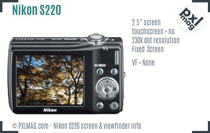 Nikon Coolpix S220 screen and viewfinder