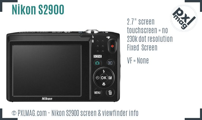 Nikon Coolpix S2900 screen and viewfinder