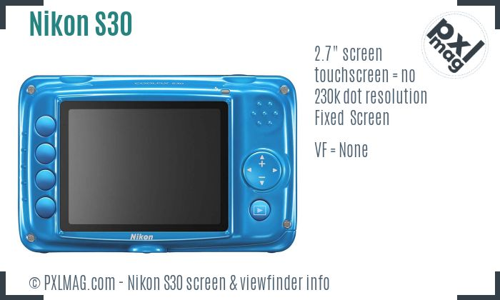 Nikon Coolpix S30 screen and viewfinder