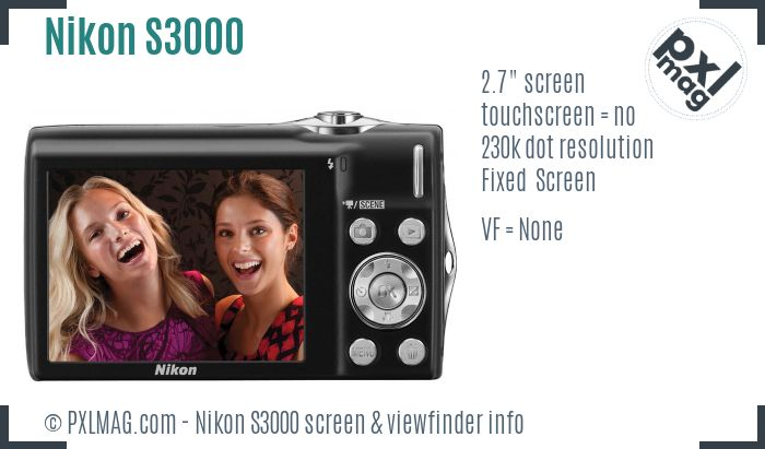 Nikon Coolpix S3000 screen and viewfinder