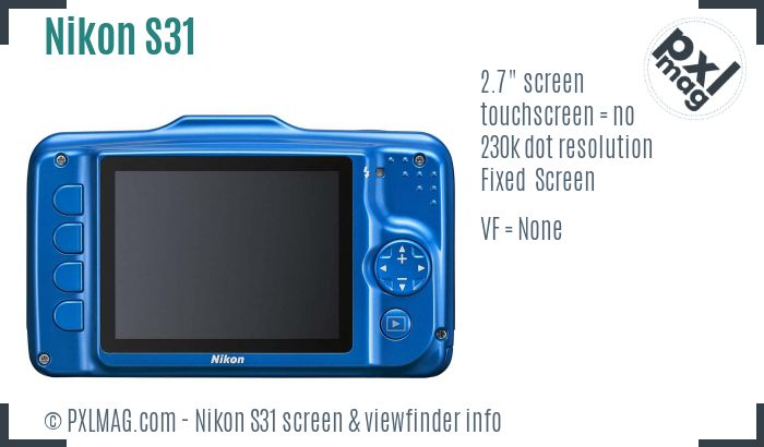 Nikon Coolpix S31 screen and viewfinder