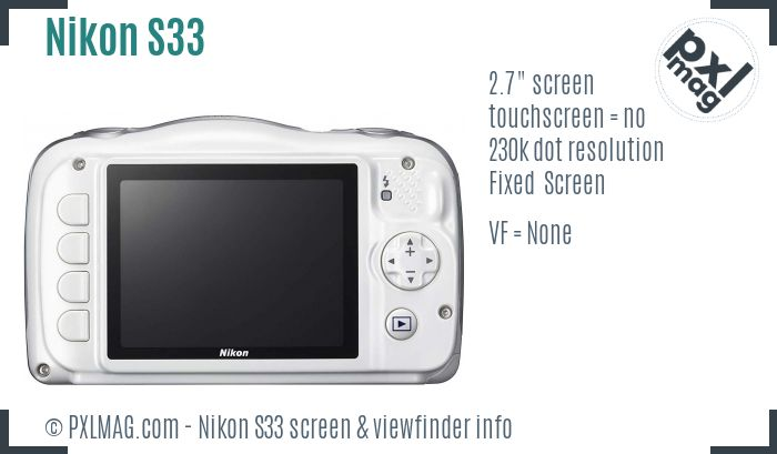 Nikon Coolpix S33 screen and viewfinder