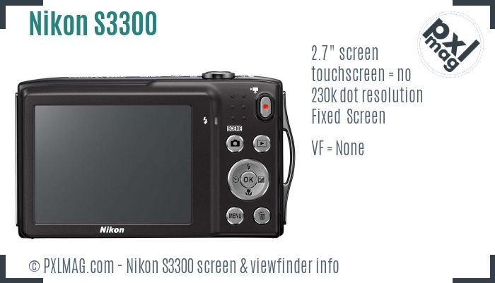 Nikon Coolpix S3300 screen and viewfinder