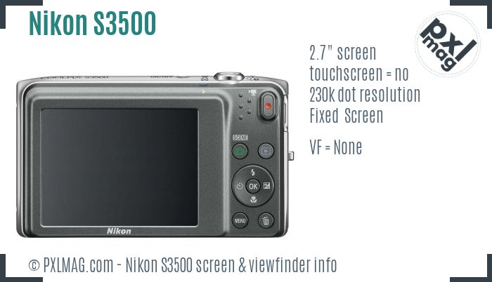 Nikon Coolpix S3500 screen and viewfinder