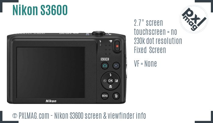 Nikon Coolpix S3600 screen and viewfinder