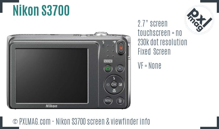 Nikon Coolpix S3700 screen and viewfinder