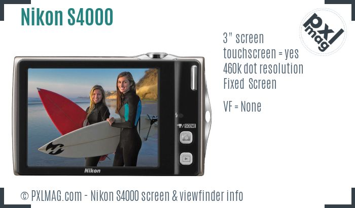 Nikon Coolpix S4000 screen and viewfinder