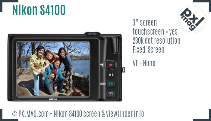 Nikon Coolpix S4100 screen and viewfinder