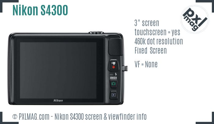 Nikon Coolpix S4300 screen and viewfinder