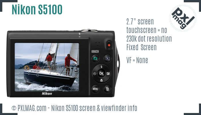 Nikon Coolpix S5100 screen and viewfinder