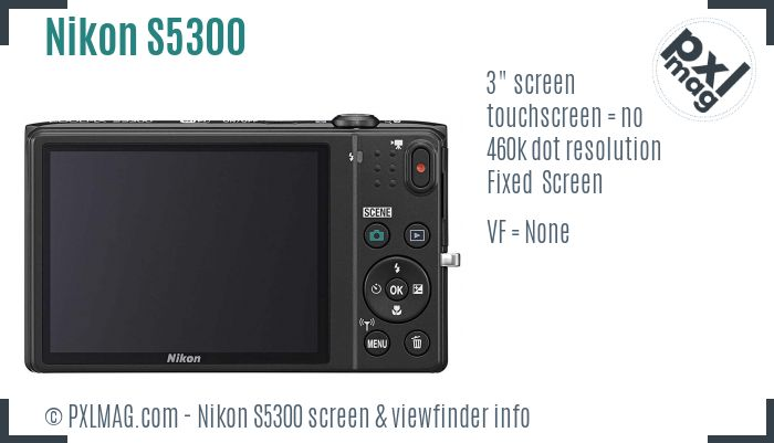 Nikon Coolpix S5300 screen and viewfinder