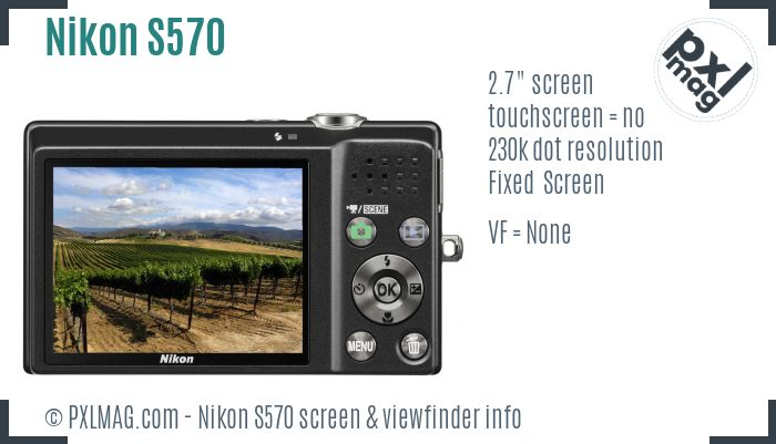 Nikon Coolpix S570 screen and viewfinder