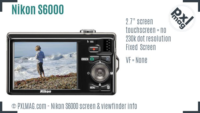 Nikon Coolpix S6000 screen and viewfinder