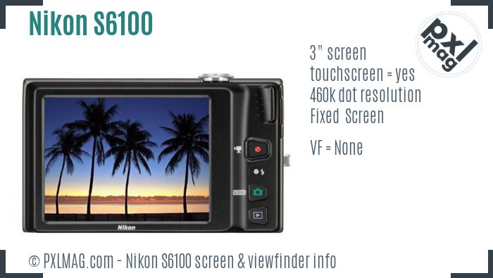 Nikon Coolpix S6100 screen and viewfinder