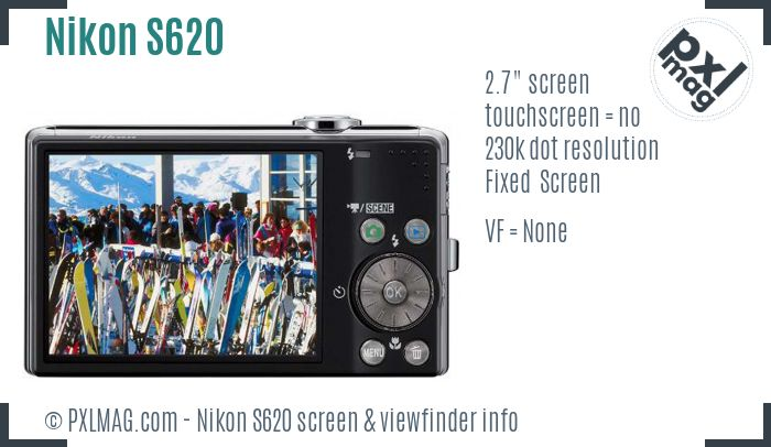 Nikon Coolpix S620 screen and viewfinder