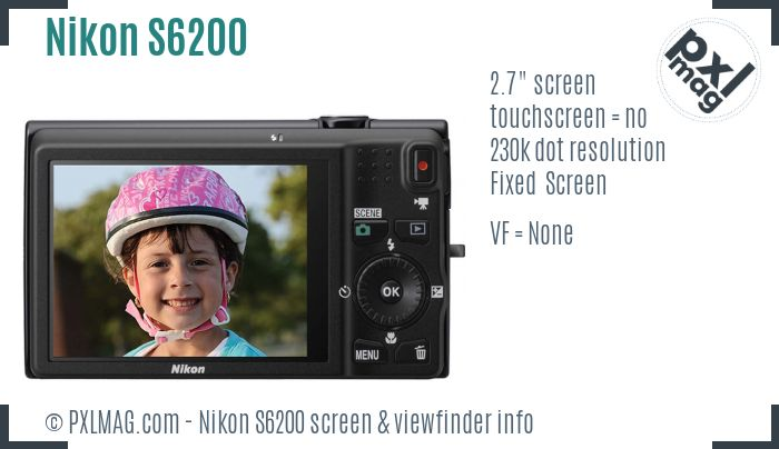 Nikon Coolpix S6200 screen and viewfinder