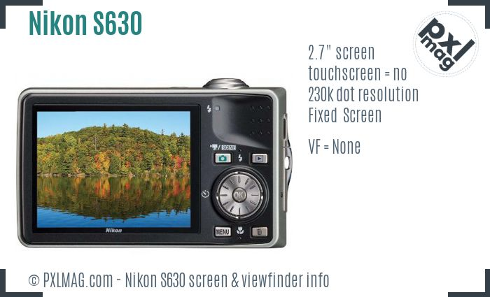 Nikon Coolpix S630 screen and viewfinder