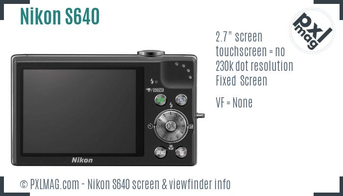 Nikon Coolpix S640 screen and viewfinder