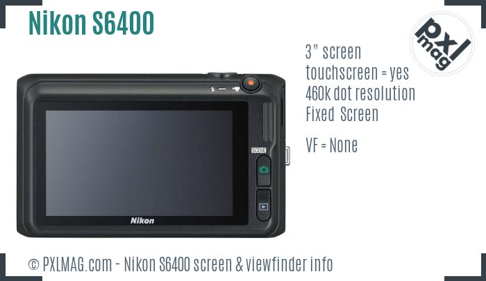 Nikon Coolpix S6400 screen and viewfinder