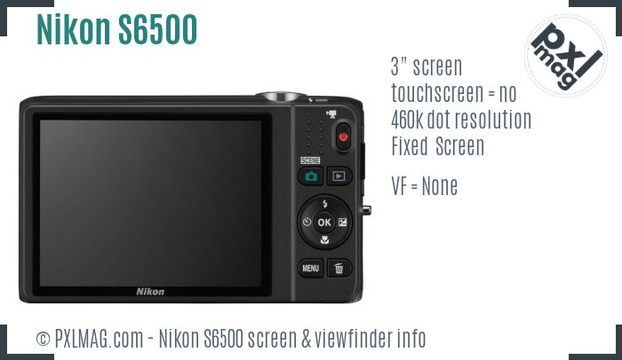 Nikon Coolpix S6500 screen and viewfinder