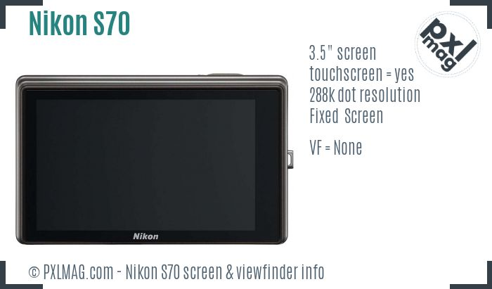 Nikon Coolpix S70 screen and viewfinder