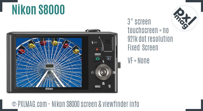 Nikon Coolpix S8000 screen and viewfinder
