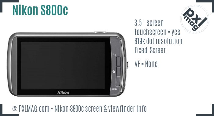 Nikon Coolpix S800c screen and viewfinder